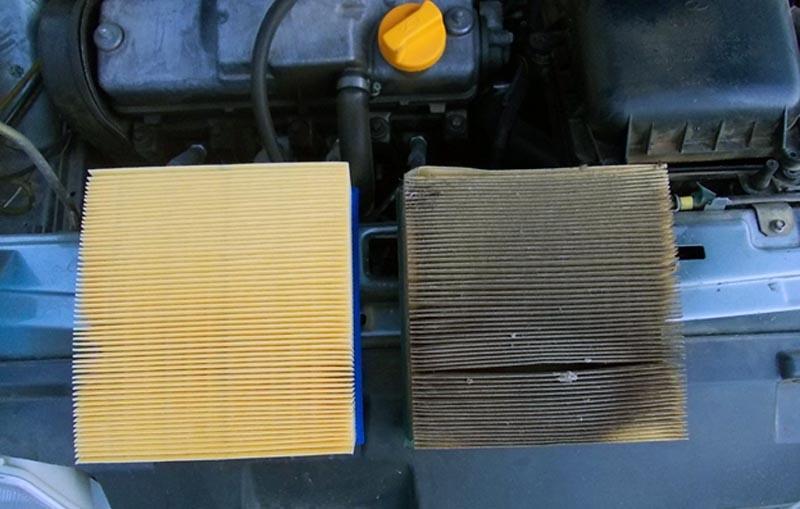 Грязный воздушный фильтр ВАЗ 2114