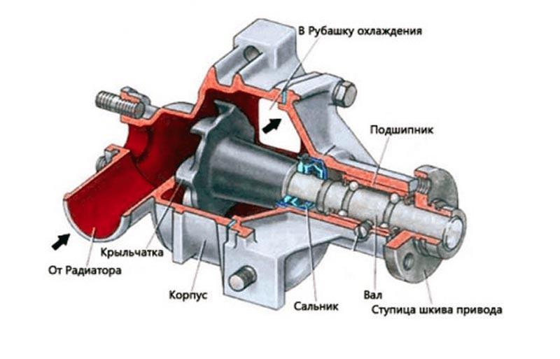 Схема помпы ВАЗ 2114
