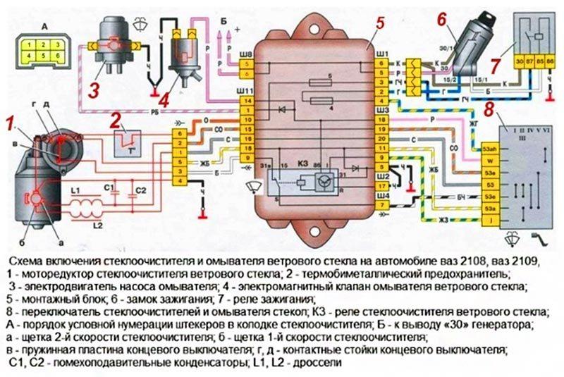 Схема стеклоочистителей ВАЗ 2114