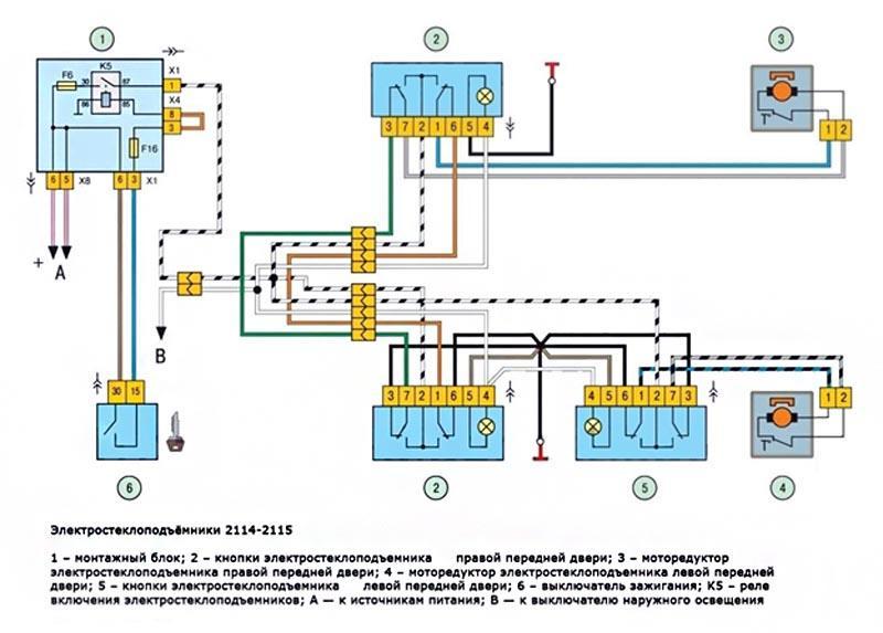 Схема стеклоподъемника